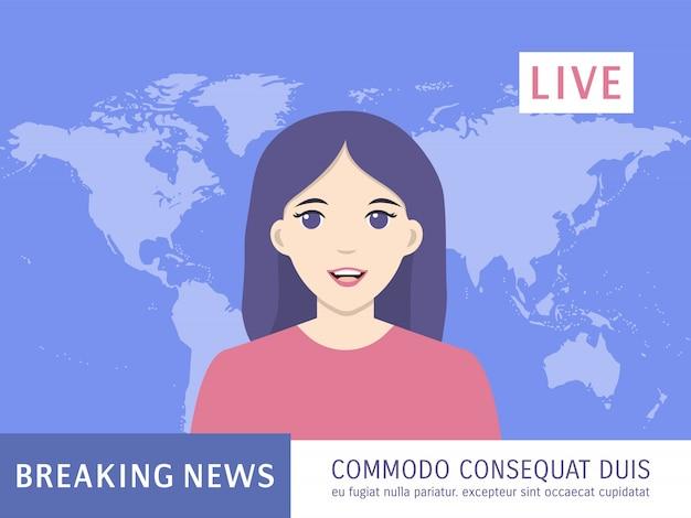 Диктор женщина сообщает о последних новости тв. живые новости, ведущая, концепция заголовка. якорная трансляция новостей