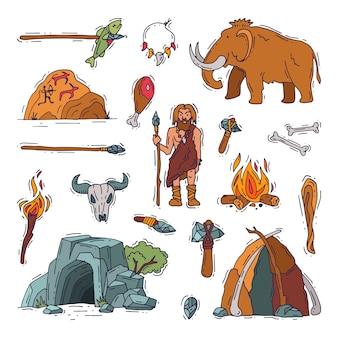 原始人の原始的なネアンデルタール人のキャラクターと石器時代の洞窟で古代の穴居人の火。