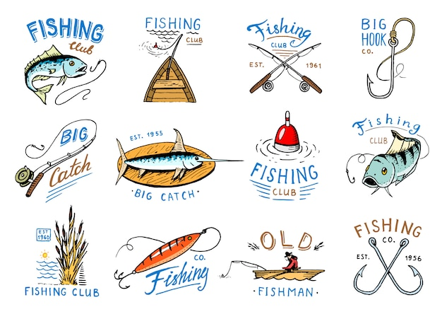 漁師の漁船と漁師のロゴと漁業のロゴタイプと漁獲された魚釣竿のエンブレム。