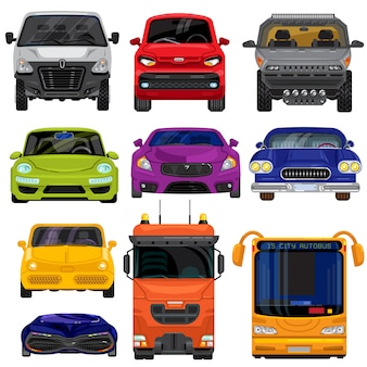 Автомобиль вид спереди вид транспортного средства мультфильм транспортировки набор иллюстрации плоский стиль изолированные