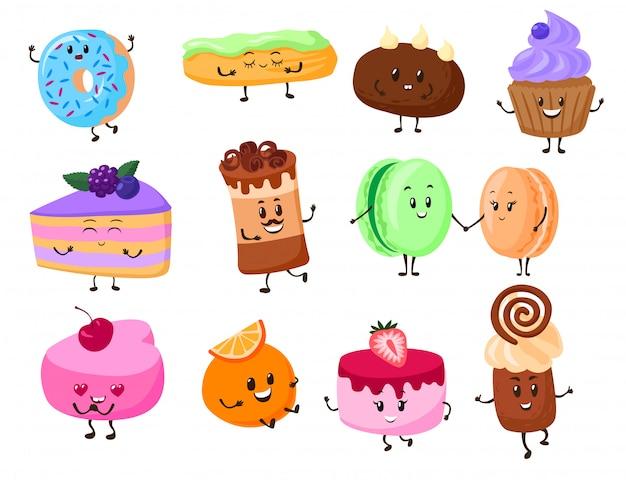 Торт десерт персонажей мультфильма иллюстрации. сладкий смешной