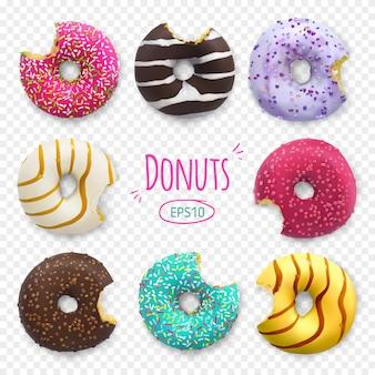 Укушенные пончики иллюстрации хлебобулочные сладкие кондитерские изделия десерт с отверстиями и начинки коллекции.