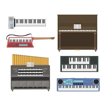 Иллюстрация клавишных музыкальных инструментов.