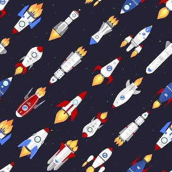 技術船ロケット漫画シームレスパターン。