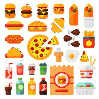 カラフルな漫画ファーストフードアイコン分離レストランおいしいアメリカンチーズバーガー肉と不健康なハンバーガーの食事のセット。