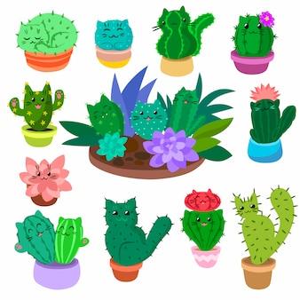 かわいい漫画のサボテンと多肉植物は、分離された自然植物サボテンイラストを手に設定します。
