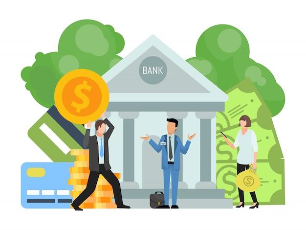 ビジネスマンは銀行の建物にお金とお金の袋を運んで入れています。金融投資と銀行のベクトル図の資金の保全の概念