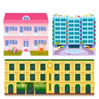 ホテルの建物の観光旅行者は休暇時間アパート都市町の正面図を配置します。