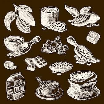 ココア製品の手描きのスケッチ落書きスタイルコーヒー豆製品食品チョコレート甘いカカオイラスト。ビンテージスタイルの植物天然豆有機カカオ成分