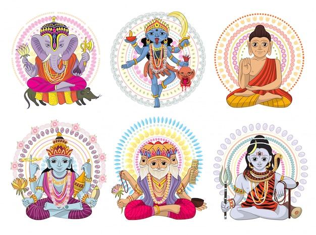 Индийский бог богиня индуизма богиня и богоподобный идол ганеша в индии иллюстрации набор