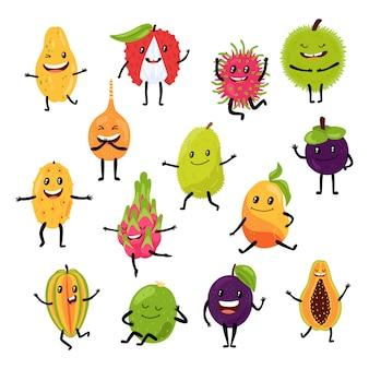 Танцуя тропические экзотические плодоовощи в характере нарисованный рукой фруктовый тропик еды изолированный на белизне.