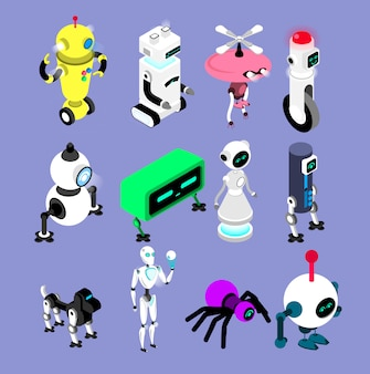 ロボットはアイソメ図スタイルで設定します。ロボットとアンドロイドのコレクション孤立した機械のイラスト。