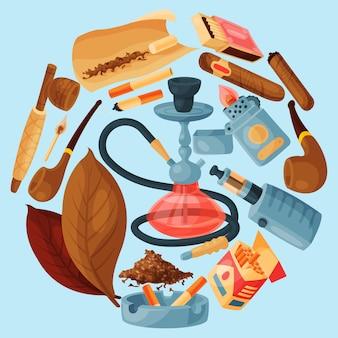 タバコ、葉巻、水ギセルラウンドベクトルイラスト。葉巻、タバコ、タバコの葉、パイプ、灰皿、ライターはすべて水ギセルの周りにあります。喫煙アクセサリー。