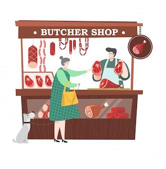 犬を持つ女性は、白で隔離される地元の市場で肉の買い物客の売り手で肉や豚のラム肉とソーセージを購入します。