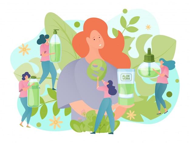 女性キャラクターは、アロエベラクリーム、自然化粧品、香水を抱擁します。デザイン民族科学のコンセプトバナー。