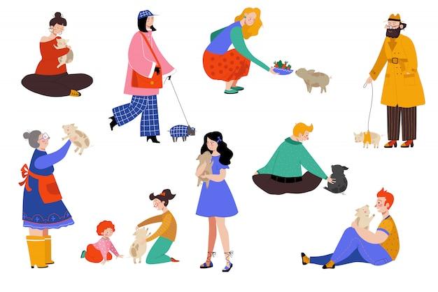 Люди животное свинья владелец иллюстрации, мультфильм плоская счастливая женщина мужчина характер веселиться с свиньей, любовь, обнять поросенок набор на белом