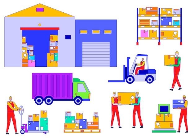 Складируйте работника людей иллюстрацию, персонажа из мультфильма линии человека работу в службе логистики доставки, набор для хранения фабрики, изолированных на белом