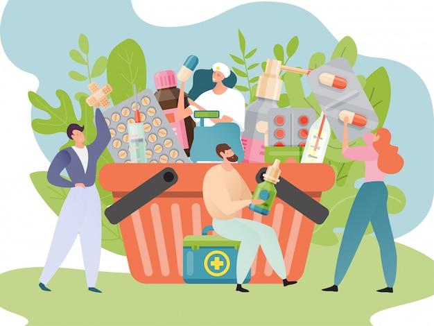 Иллюстрация магазин медицины. медицинский, аптека, концепция здравоохранения. корзина с лекарствами, наркотиками. люди возле аптечной корзины.