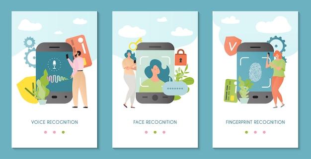 認識技術のイラスト。顔、声、指紋認識。個人の身元を認識する認証システム。