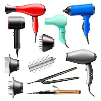 白い背景に分離された理髪店のスタイリングアプライアンスストレートナーカーラーのブロードライと電気ヘアドライヤーブロワーイラスト美容セットに美容院のヘアードライヤーファッションドライヤー