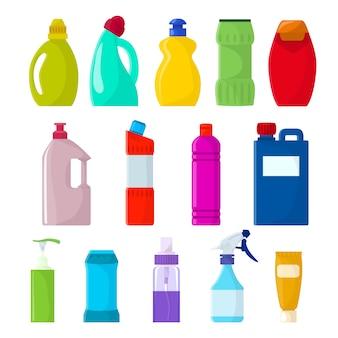 白い背景に分離されたクリーンアップ洗剤パッケージスプレーのクリーニングイラストセットの洗剤液とモックアップ家庭用クリーナー製品と洗剤ボトルプラスチック空コンテナー