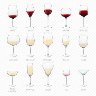 ワイングラスワイナリーアルコールドリンクとバーのレストランイラストセットの白い背景で隔離のグラスシャンパンボルド液体カクテルの赤い飲料ワイングラス