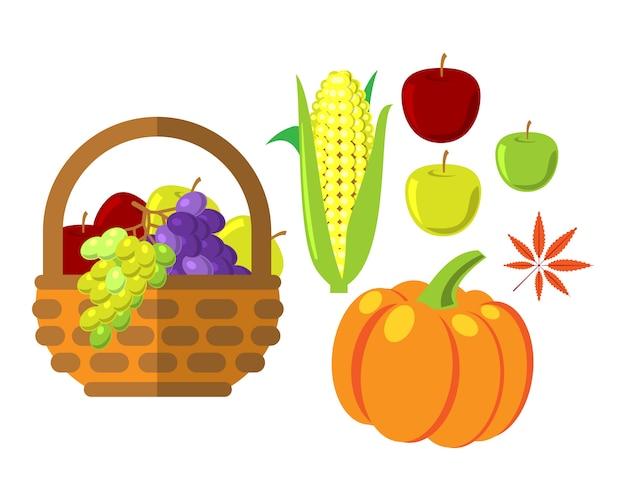 枝編み細工品バスケットの果物と野菜