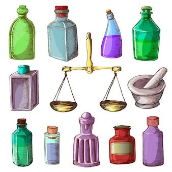 Аптека бутылки старинные медицинские стеклянные старый контейнер с наркотиками с химической жидкой медицины и весы иллюстрации фармацевтической химии набор на белом фоне
