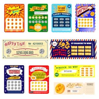Лотерейный билет повезло бинго карты выиграть шанс лотереи игровой джекпот набор лотерейных игровых билетов, изолированных на белом фоне