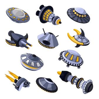 Ракета космический корабль или космический корабль и космический нло иллюстрации набор разнесенных корабля или ракеты во вселенной космоса на белом фоне