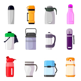Термос термос или бутылка с горячим напитком кофе или чая иллюстрации набор металлического контейнера или алюминиевой кружки или чашки, изолированных на белом фоне