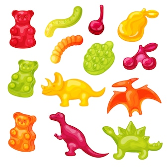 Жевательные конфеты иллюстрации. мультяшный милый сладкий желе медведь, мармелад червь, красочные иконки сахара животных корм на белом