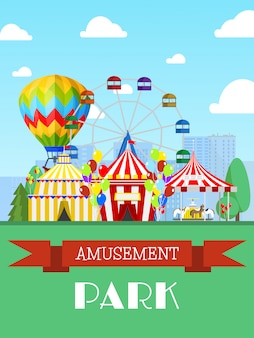 遊園地とサーカスのテント、観覧車フラットイラスト。エンターテイメントショー、プロモーション招待状。