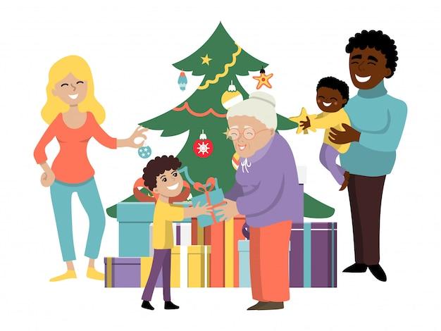 クリスマスの家族の休日、キャラクターの人々の親、祖父母のプレゼントボックスギフト子供フラットイラスト。