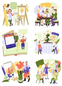 創造的な人々ベクトルオフィスチームワーク図で一緒に働く男性女性キャラクター