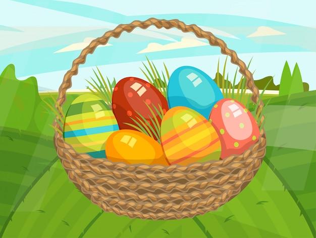 控えめなコンセプトハッピー春イースター休暇、明るいカラフルな卵、デザイン、フラットスタイルのイラストが大きなバスケット。