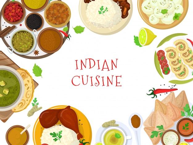 本格的なインド料理、オリジナルのおいしい味のバナー、イラスト。スパイシーなアジア食材、ピリッとした風味のミール。
