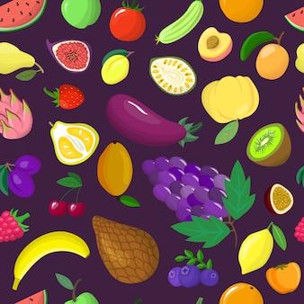 有機野菜のトロピカルフルーツのシームレスなパターンのイラスト。健康的なエコ食品。包装紙の包装。