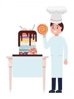 ペストリーシェフ男性キャラクターケーキメーカー、白、イラストで分離された甘いベーカリー食品を調理します。男性の菓子職人。