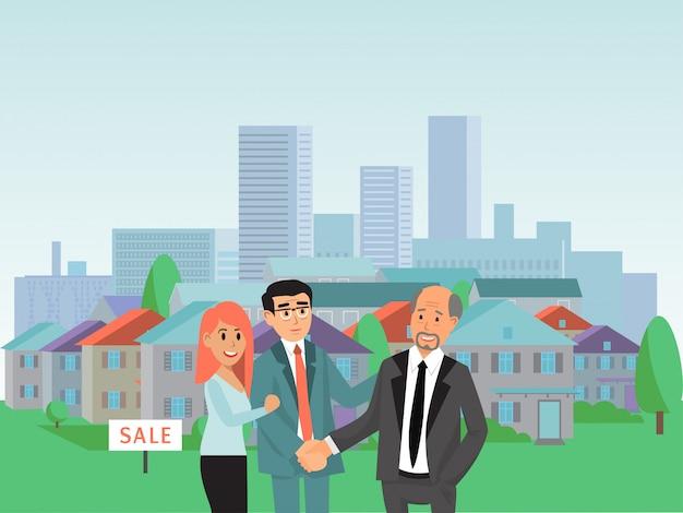 キャラクター男性女性は新しい家、不動産アパートのコンセプト不動産エージェントイラストを購入します。都市景観。