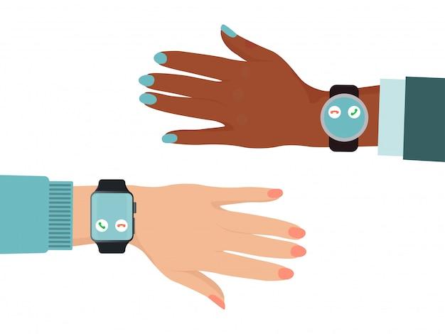 さまざまな国の手は、スマートウォッチ、白、図に分離された黒と白の色の皮膚の腕を着用します。オンラインの最新テクノロジー。