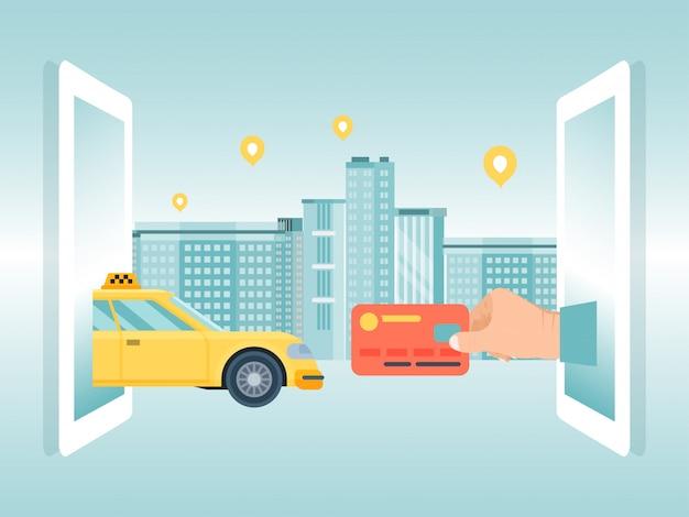 オンラインタクシーコンセプトデバイスを注文、男性は都市の背景、イラストにクレジットカードのタクシーを保持します。バナー遠隔令状車両。