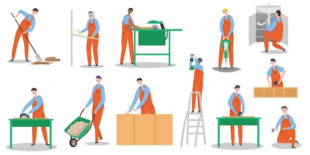 Набор символов рабочих людей строителей изолировал иллюстрацию, здание мастера, сварку, лестницу для переноски, изготовление кирпичной кладки, проведение хаммера.