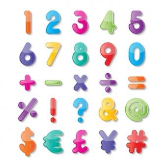 色の数字と記号