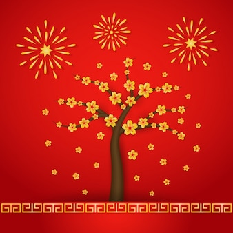 Цветущее дерево и фейерверк