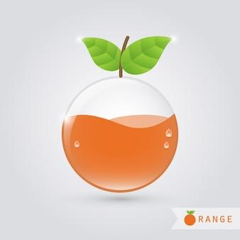 オレンジ色の液体とオレンジのガラス