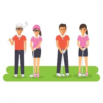 ゴルフの練習人々