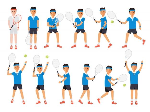 テニス選手、テニス選手のアクション。