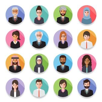 Аватары бизнесменов и деловых женщин.