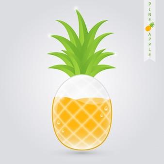 内部のパイナップルとパイナップルジュースのグラス